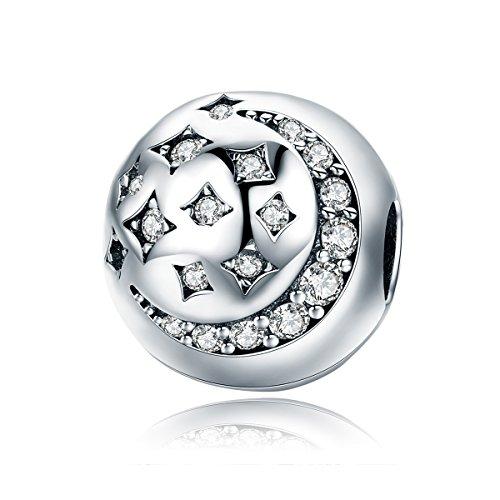 Lily Jewelry Silver Moon & Star clip scintillante CZ in argento Sterling 925, adatto per Pandora braccialetti europei
