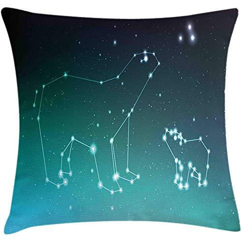 Not applicable Funda de cojín con cojín de Oso, Ursa Major Constelación de Ursa Menor en el Cielo Nocturno, Funda Decorativa de Almohada Decorativa Cuadrada, 18 'X 18', Azul Marino, Verde Marino