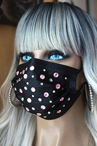 Mundschutz Schutzmaske Atemschutzmaske Maske Damen Ladys atmungsaktiv schwarz silber weiß rosa 3 lagig 3-lagig hübsch elegant sexy Strass Strasssteine