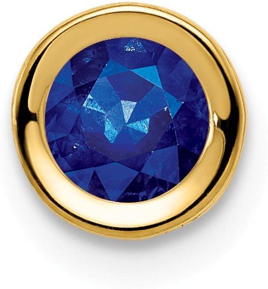 Solid 14k Yellow Gold 5mm Sapphire Blue September Gemstone bezel Pendant Charm