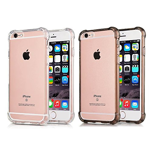 [2Pack] CaseHQ Compatible with iPhone 6 Plus Case, iPhone 6S Plus Case,Crystal Clear Enhanced Grip Protective Defender Cover Soft TPU Shell Shock-Absorption Bumper Air Cushioned 4 Corners-Clear+Black