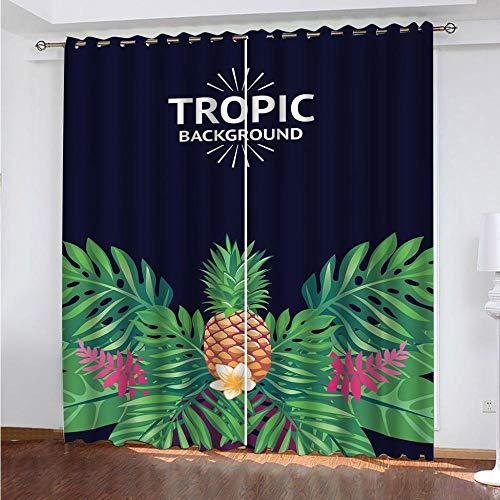 MENGBB Cortina Opaca Microfibra Infantil 240x230cm Fruta de arbusto Tropical 95% Opaca Cortina aislantes de frío y Calor Decorativa con Ojales Estilo para Salón Habitación y Dormitorio