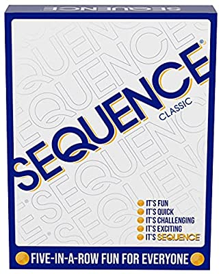 """SEQUENCE- Original SEQUENCE Game with Folding Board, Cards and Chips by Jax ( Packaging may Vary ) White, 10.3"""" x 8.1"""" x 2.31"""" by Jax Ltd Inc"""