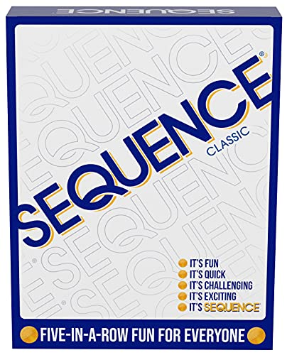 SEQUENCE- Original SEQUENCE Game with Folding Board, Cards and Chips by Jax ( Packaging may Vary ) White, 10.3