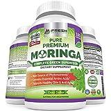 Moringa Oleifera 180 Capsules  100% Pure Leaf Powder - Max 1000mg Per Serving - Complete Green Superfood Supplement - Full 3 Month Supply - Pure Miracle Tree Moringa Super Greens Powder Vegan Caps