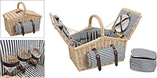 Picknickkorb, blau-weiß, gestreift   Picknick Set für 4 Personen   26 Teile