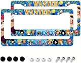 One Piece License Plate Frame Anime License Plate Frame 2PCS Automotive Exterior Accessories, 12.3x6.3 inch