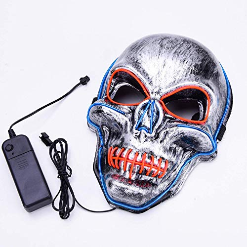 Charlemain Máscara de Luz LED, el Alambre Máscara de Payaso, Máscara Cosida para Festivales / Halloween / Navidad / Noche de Hogueras / Bolas de Disfraces / Fiesta / Juegos / Regalo (Línea Azul-Rojo)