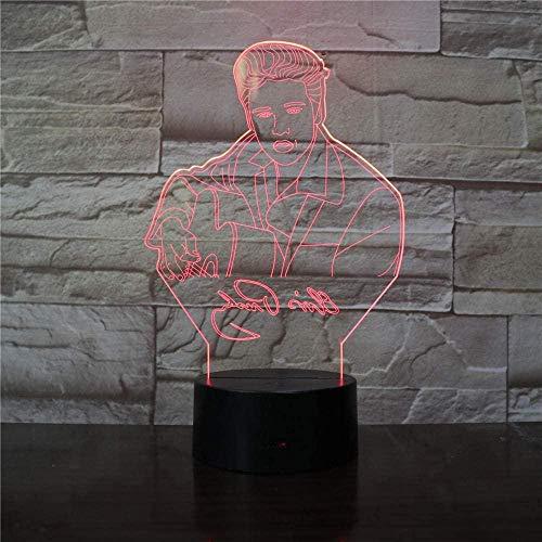 BTEVX Lámpara de ilusión 3D Luz de noche Led Elvis Aaron Presley Lámpara de mesa King Rock and Roll Música Atmósfera USB Sensor táctil Regalos de cumpleaños