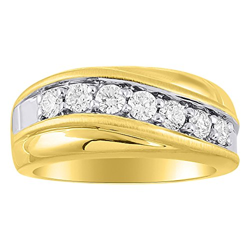 Da uomo con anello 14 K giallo o oro bianco 14 K wedding Band comfort Fit 1.00 carati peso totale diamante