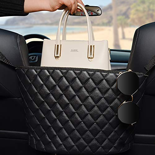 Car Handbag Holder,Leather Seat Back Organizer,Large Capacity Purse Storage Pocket Bag,Seat Back Handbag Holder Barrier Between Two Seats of the Car