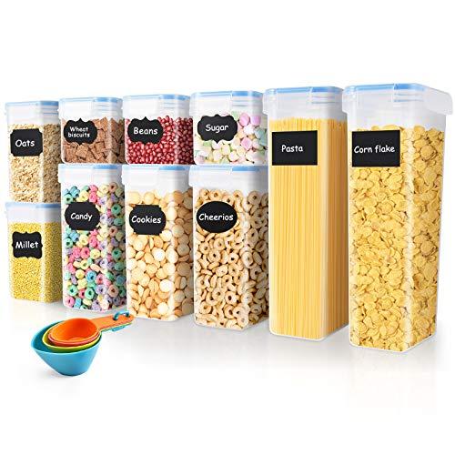 SOLEDI Contenitori Ermetici per Alimenti di 10 Contenitori Alimenti Set Cereali Senza BPA Contenitori per Cereali Plastica