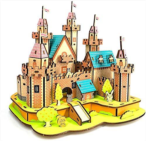 Abcoll Kinder Märchen Schloss Puzzle Handgemacht DIY montiert Modell 3D Lernspielzeug Holzpuzzles