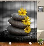 Fansu Duschvorhang Wasserdicht Anti-Schimmel Anti-Bakteriell, 3D Shabby Drucken 100prozent Polyester Bad Vorhang für Badzimmer mit C-Form Kunststoff Haken (90x180cm,Sonnenblume)