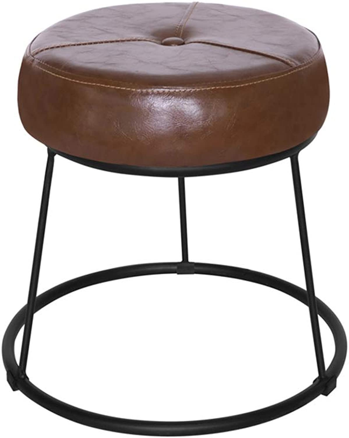 SMC stool Simple Modern Wrought Iron Leather Home Stool Bedroom Living Room Change shoes Bench Adult Dining Bench Bench (color   Brown)