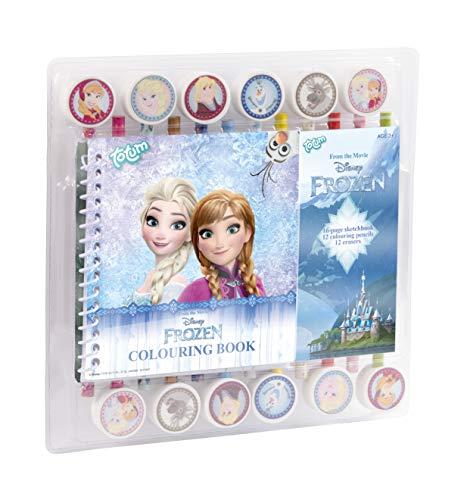 Totum 680524 Frozen Die Eiskönigin Bastelset mit Malbuch, 12 Radiergummis mit Frozen Motiven Elsa, Anna, Olaf und 12 Stiften, bunt