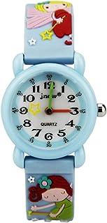 LIOOBO Fairy Cartoon Kids Analog Watch Silicone Strap Wrist Watch Student Time Clock Kids Quartz Watch for Boys Girls Kids (Rosy)