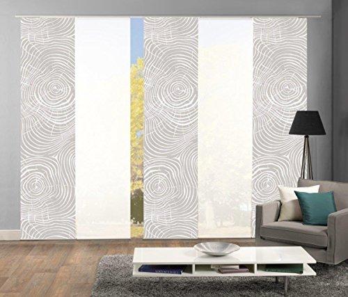 Home Fashion 95533 | 5er-Set Schiebegardinen Madera | blickdichter Dekostoff & transparenter Halborganza | 5X jeweils 245x60 cm | Farbe: Natur