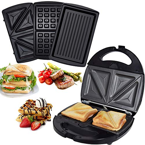 Syntrox Germany SM-1300W - Sandwichera 3 en 1 de acero inoxidable, con gofrera y parrilla de contacto con 3 placas intercambiables