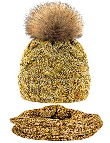 MFAZ Morefaz Ltd Set Mütze & Schal Winter Damen Alpaka Wolle Beanie Strickmütze Wurm Fleece Bommel Pom Pom (Mustard Set Hat&Scarf)