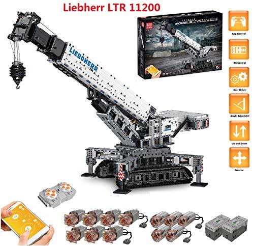 PEXL Technik Liebherr Kran Bausteine Bausatz, Technic Ferngesteuertes Raupenkran Modell Bauset mit 12 Motors, 4000 Klemmbausteine Kompatibel mit Lego