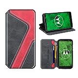 MOBESV Smiley Moto G6 Plus Hülle Leder, Moto G6 Plus Tasche Lederhülle/Wallet Hülle/Ledertasche Handyhülle/Schutzhülle mit Kartenfach für Motorola Moto G6 Plus, Schwarz/Rot
