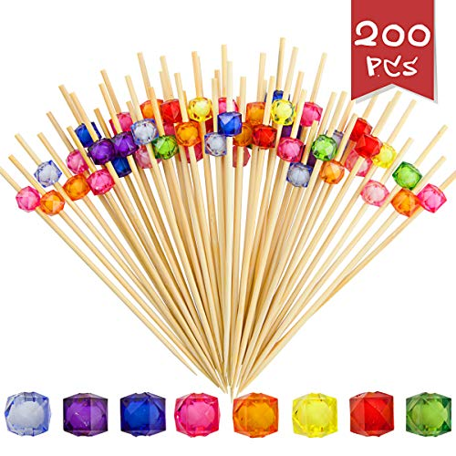 DLOnline 200 Counts 4.7 Inches Acrylic Pearl Fruit Sticks,Wooden Party Picks for Appetizer,Drink,Sandwich,and Cupcake,Bamboo Cocktail Toothpicks for Wedding Birthday Party Supplies (8 Colors)