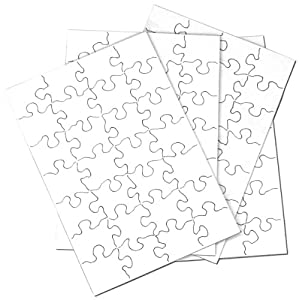 """Inovart Puzzle-It 28-Piece Blank Puzzle, 24 Puzzles Per Package, 5-1/2"""" x 8"""", White from Inovart"""