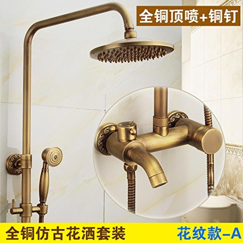 ETERNAL QUALITY Bathroom Sink Basin Tap Brass Mixer Tap Washroom Mixer Faucet Antique faucets full copper lift shower faucet hot and cold retro bathroom shower set 2 patt