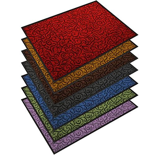 Design Schmutzfangmatte   mit Schnörkelmuster   für Eingangsbereich   Fußmatte in vielen Größen und Farben   rot 40x60 cm