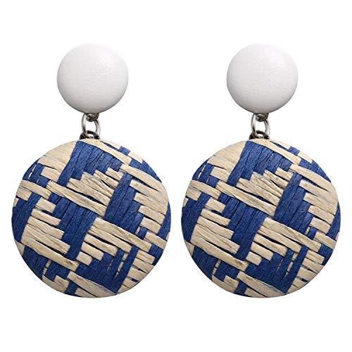 Geometric Drop Korean Earrings For Women Round Square Rattan Knit Dangle Earring For Girls 2019 New Style Jewelry Earrings,FNS05330