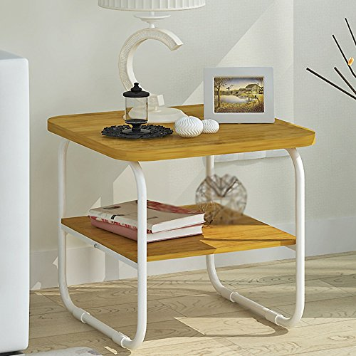 XIA Table basse Table à manger Simple et moderne Double couche en bois Salon Combinaison simple Mini Petit Tableau Assemblée 50 * 50 * 47.5 cm (Couleur : A)