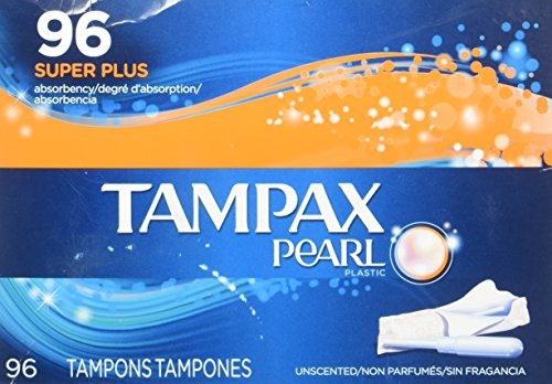 Tampax Pearl Unscented Tampon, Super Plus Absorbency, 96 Count