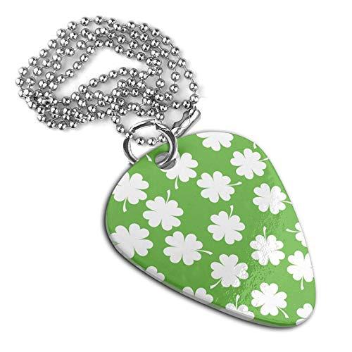 White Irish Clover Necklace Guitar Pick Shape Pendant Neck Pendant Key Chain Pet Dog Tag Badge