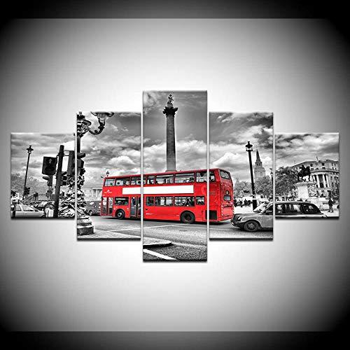UOBSLBI - 5 Leinwandmalerei - Londoner Bus - Gedrucktes Bild Wandbild Wohnzimmer Wand Wohnkultur Wandkunst Modulare Malerei Islamische Religion (Mit Rahmen)
