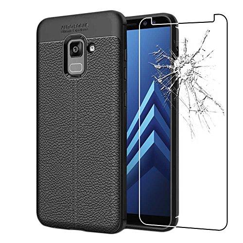 ebestStar - kompatibel mit Samsung Galaxy A8 2018 Hülle SM-A530F Lederhülle Design TPU Handyhülle Schutzhülle, Flex Silikon Hülle, Schwarz + Panzerglas Schutzfolie [Phone: 149.2 x 70.6 x 8.4mm, 5.6'']