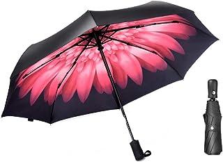 Light Parasol Fully Automatic Double-Layer Folding Umbrella Umbrella Dual-use Female Sun Vinyl Umbrella Portable (Color : D)
