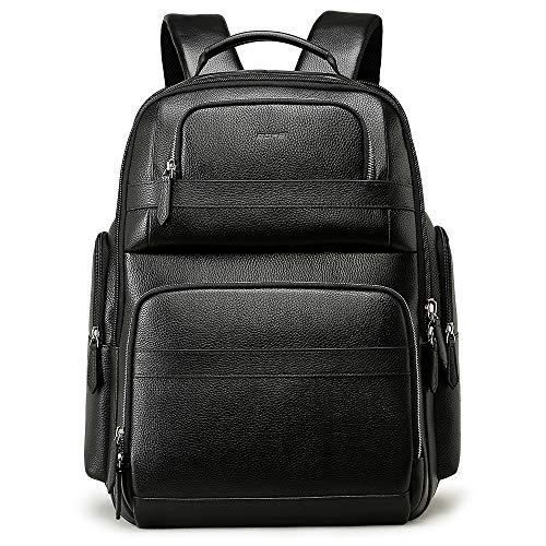 BOPAI リュックサック メンズ 本革 旅行リュック 15.6インチPCリュック USB充電ポート付き ビジネスリュック 大容量 デーバッグ ブラック