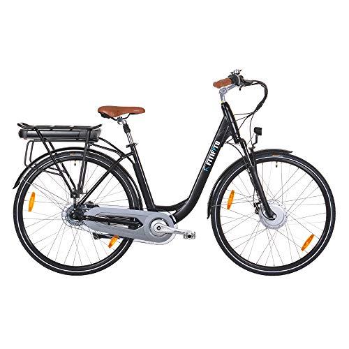 Fitifito CB28 Zoll Elektrofahrrad Citybike E-Bike Pedelec, 48V 250W Bafang Motor, 13Ah 624Wh Samsung Akku USB, 8 Gang Shimano Nabenschaltung schwarz