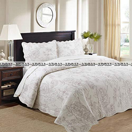 ADGAI 100% katoen gewatteerde sprei deken set rode bloem borduurwerk zachte comfortabele witte hoezen bed gooien met 2 Shams, 230x250cm
