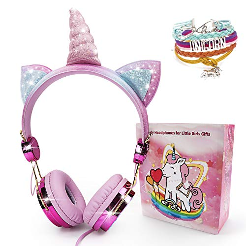 Snow Abonci Unicorn Headphones for Kids,Over On Ear Headset with Microphone Adjustable Headband,3.5mm Jack and Tangle-Free Cord Headset Wireless Handsfree Earpiece Headphone Active (Pink)