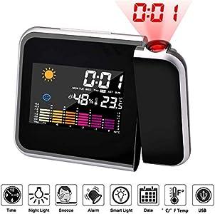 Mmester Reloj de proyección Digital,LED Alarma, Reloj Modern Reloj Despertador Colourful Pantalla LCD Estación USB Meteorológica Termómetro Higrómetro Funciones de Repetición (Negro)