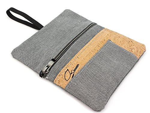 SIMARU Tabaktasche/Tabakbeutel aus Stoff & Kork, Drehtabak Tasche mit Feuerzeug-, Filter- und Blättchen-Tasche, Drehertasche für Herren und Damen (grau/Natur)