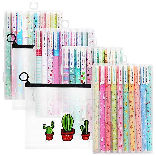 PUDSIRN 40 bolígrafos de gel para niñas con 2 estuches, coloridos y bonitos juegos de bolígrafos de tinta de gel para niños y niñas escribiendo dibujo escuela cumpleaños