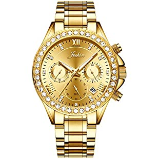 Jechin Women's Chronograph 18K Gold Plated and Stainless Steel Diamond Luxury Gold Watch
