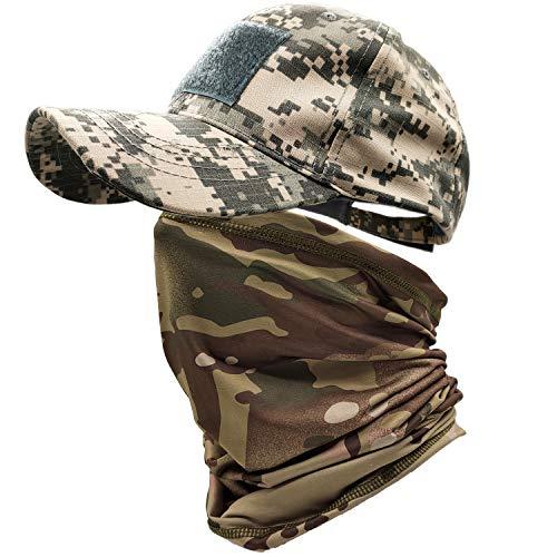 ehsbuy Cappellino Militare Camo Cappello Softair Baseball Scaldacollo Berretto Visiera Mimetica Esercito Bandiera Tattico ACU per Caccia Paintball Tiro