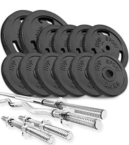 Hop-Sport GUSS Hantelset 75 kg, 1x Langhantel, 1x SZ Stange & 2X Kurzhantel inkl. 12 Hantelscheiben 2x10kg/4x5/kg/6x2,5 kg (SZ)