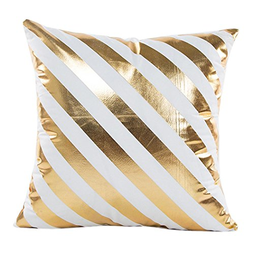 LuckyGirls Kissenbezug 45 x 45 cm Gold folie Druck kopfkissenbezüge Sofa Bett Auto Home Decor Festival Kissenhülle (F)