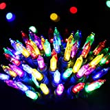 RECESKY 100 LED Christmas String Lights with Remote and Timer - 33ft Clear Mini Battery String Light, Fairy Lighting Decor for Outdoor, Indoor, Garland, Yard, House, Christmas Decorations, Multi Color