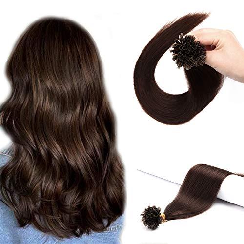 (40-60cm) Extension Capelli Veri Cheratina 100 Ciocche 50g #4 Marrone Cioccolato U Tip Bonding Hair Extension Keratina 40cm Capelli Umani
